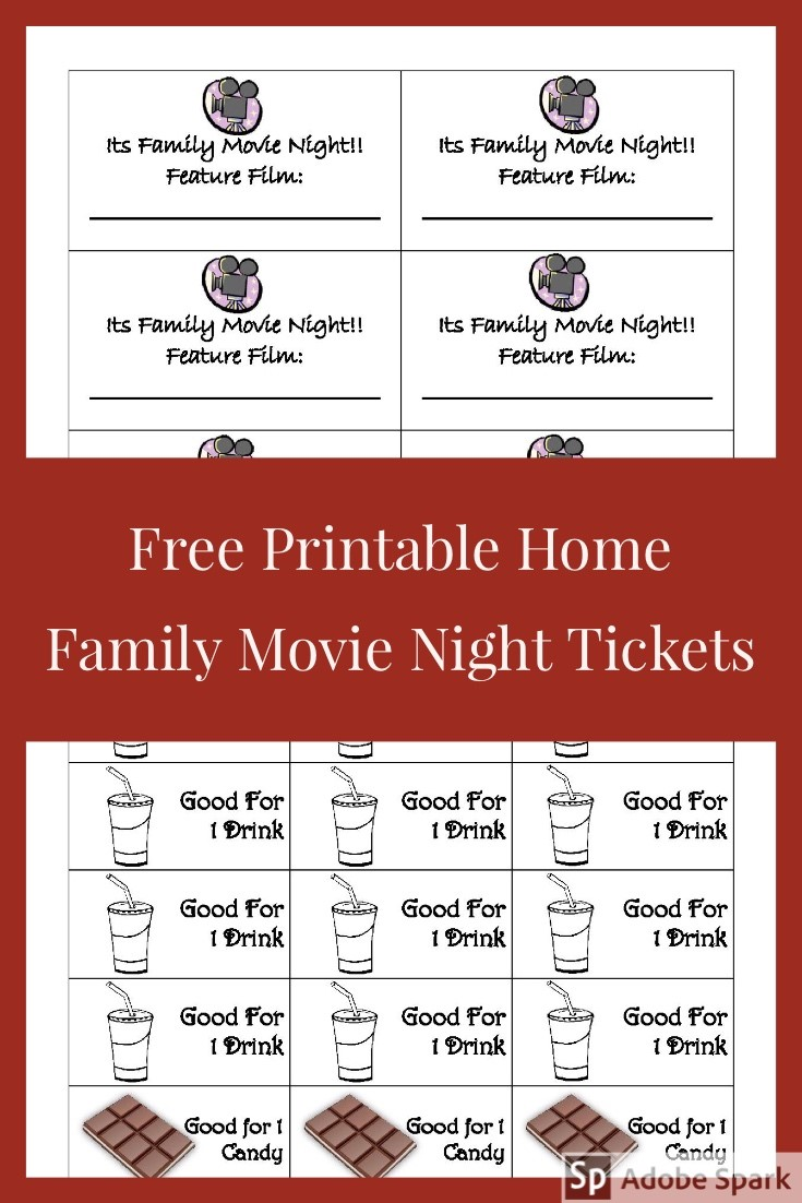 Family Movie Night Ticket Pin image