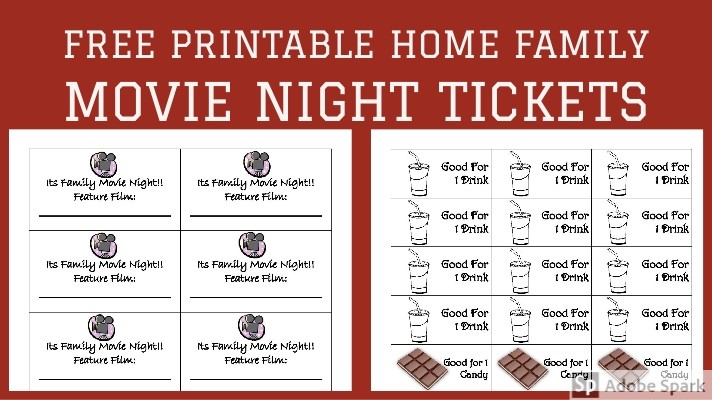 photograph about Free Printable Movie Tickets identify No cost Printable Dwelling Loved ones Video Night time Tickets