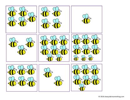 Busy Bees Counting Cards-page-002