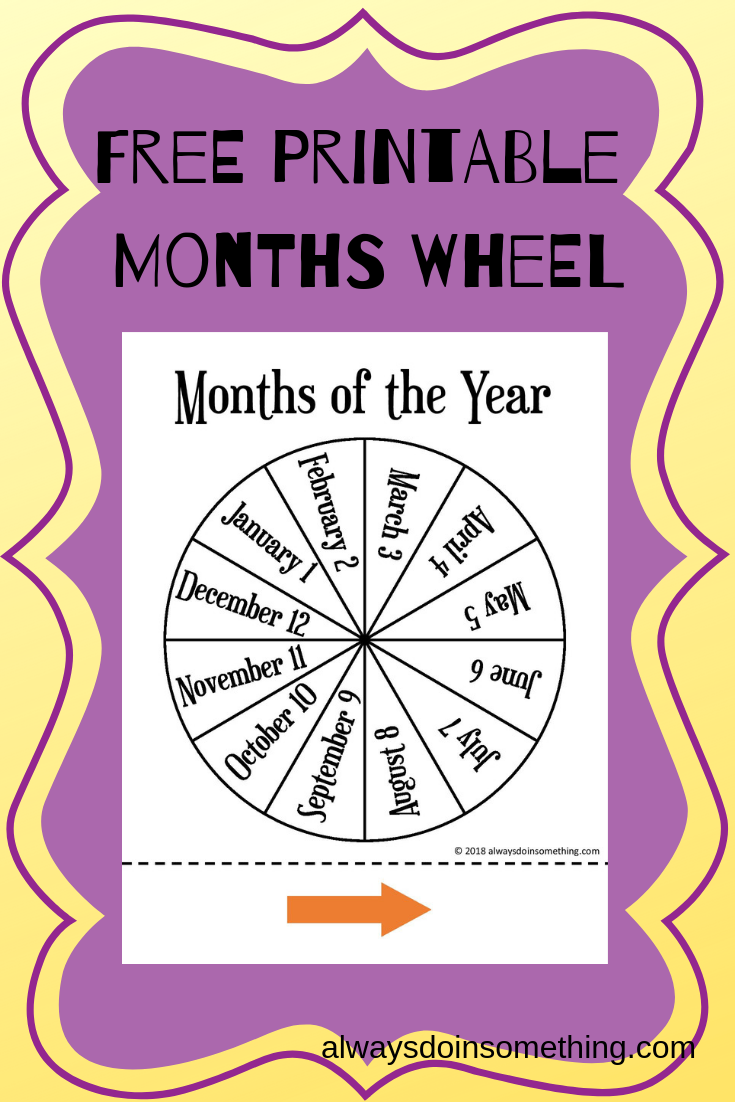 image relating to Printable Months of the Year for Preschool named Cost-free Weeks of the 12 months Wheel