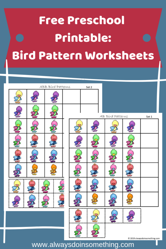 Free Preschool Printable: Bird Pattern Worksheets Pinnable Image