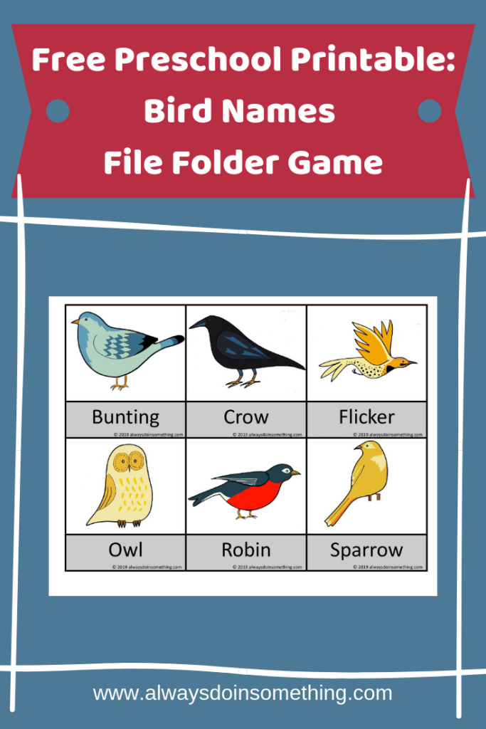 Free Preschool Printable: Bird Names File Folder Game Pinnable Image