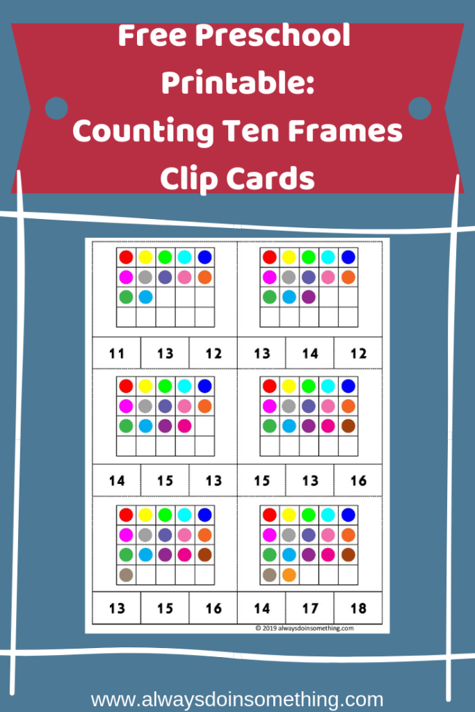 Free Preschool Printable: Counting Ten Frames Clip Cards Pin Image