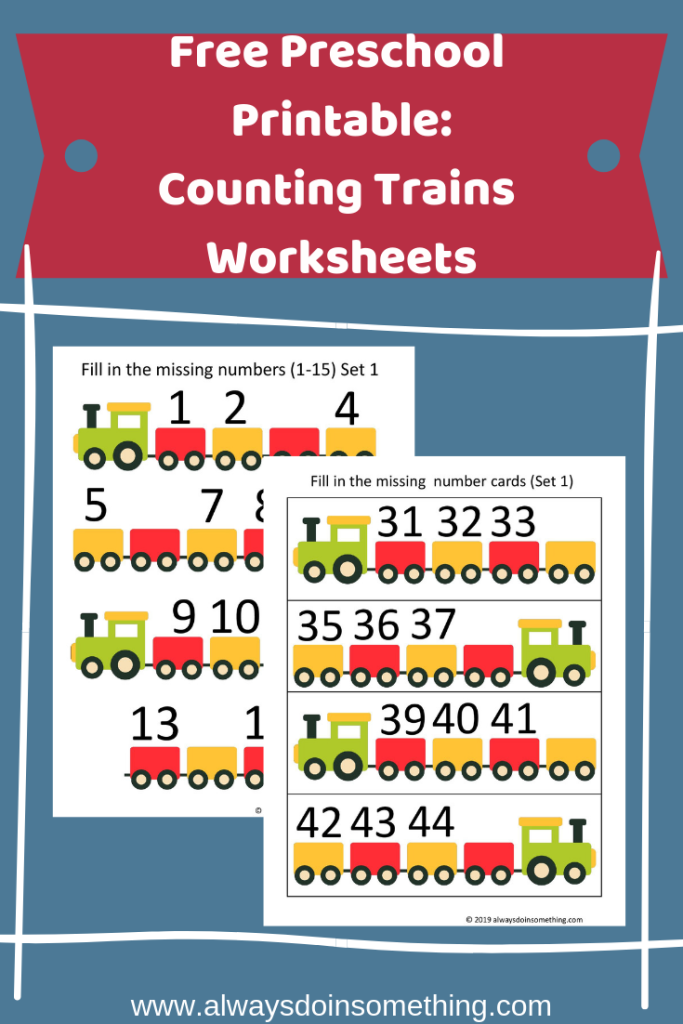 Free Preschool Printable: Counting Trains Worksheets Pin Image