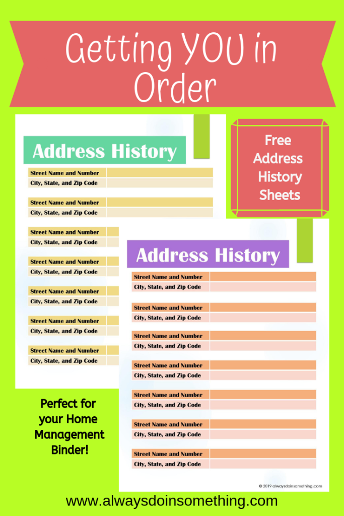 Getting YOU in Order: Free Address History Sheets Printable Pin Image