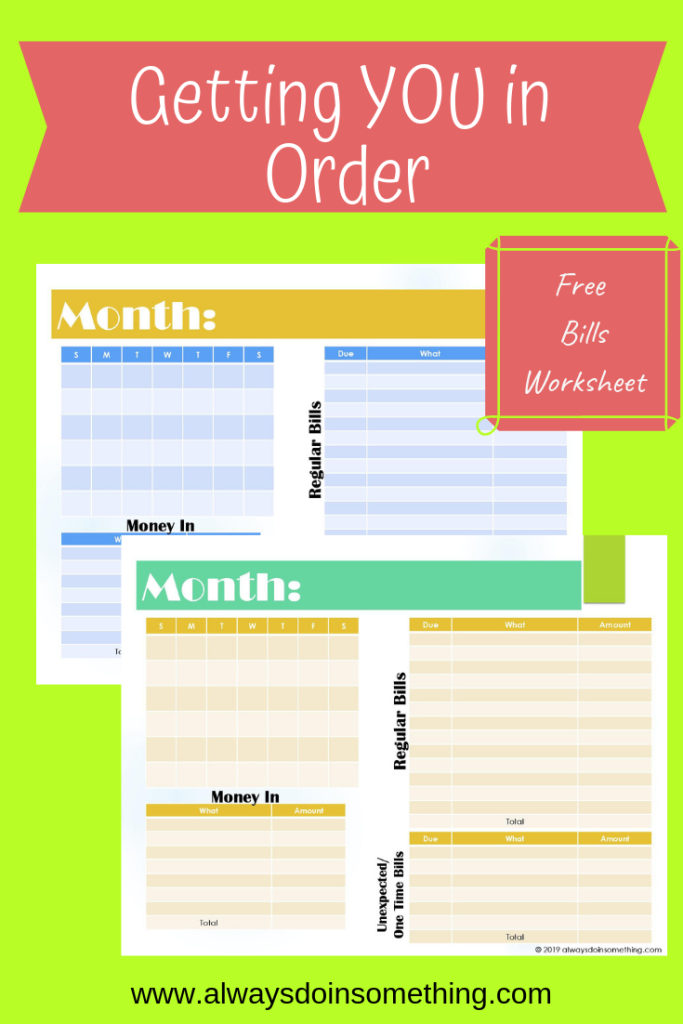 Getting you in Order Free Bills Worksheet Pinnable Image