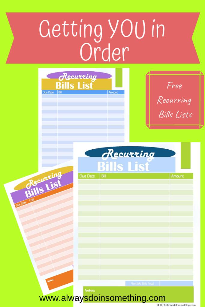 Getting YOU in Order Free Printable Recurring Bills List Pinnable Image.