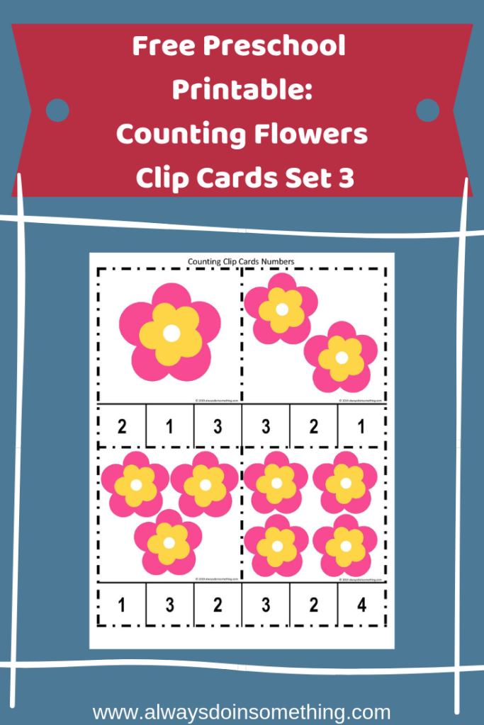 Free Preschool Printable Counting Flowers Clip Cards Set 3 Pin Image